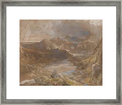 Llwyngwynedd And Part Of Llyn-y-ddina Between Capel Curig And Beddegelert Framed Print by Samuel Palmer
