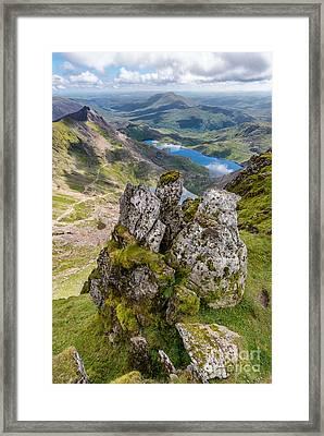 Llydaw And Glaslyn Lakes Framed Print
