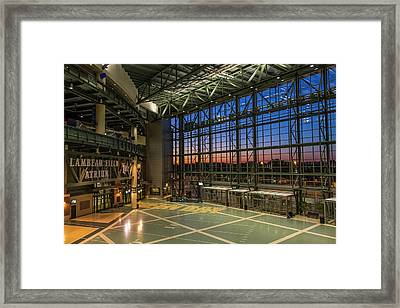 Framed Print featuring the photograph Lambeau Field Atrium Sunset by Joel Witmeyer