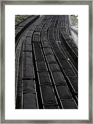 Loaded Coal Cars Sit In The Rail Yards Framed Print by Everett