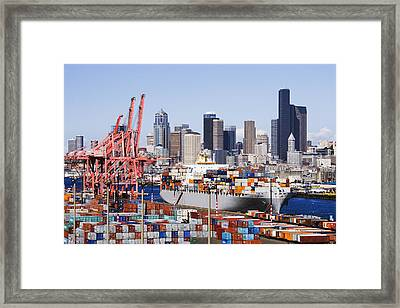 Loaded Container Ship In Seattle Harbor Framed Print by Jeremy Woodhouse