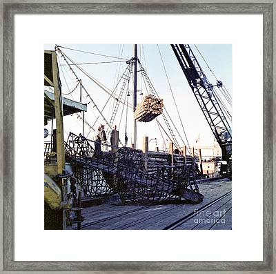 Framed Print featuring the photograph Loading Logs At The Port Of Olympia 1966 by Ron Allen