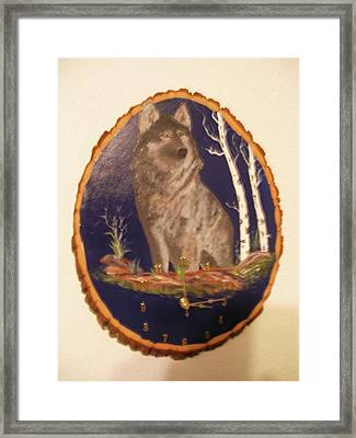 Framed Print featuring the painting Lobo Clock by Al  Johannessen