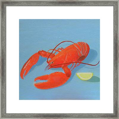 Lobster And Lemon Framed Print