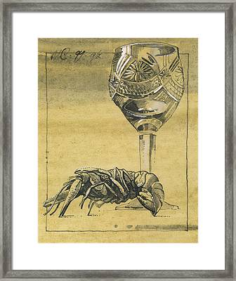 Lobster And  Wineglass. Paradox Still Life Framed Print