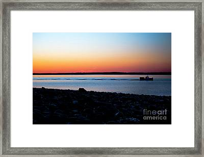Lobster Boat In Maine Framed Print by Diane Diederich