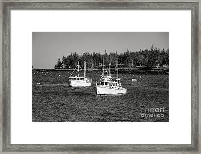 Lobster Boats On Maine Coastal Inlet Framed Print by Olivier Le Queinec