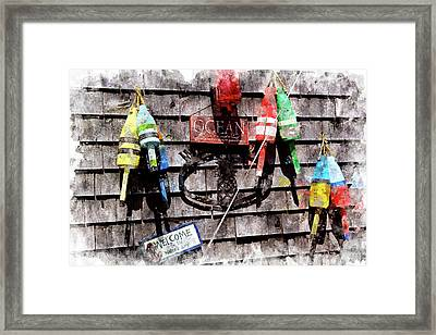 Lobster Buoys Wc Framed Print by Peter J Sucy
