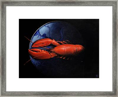 Lobster On Tiffany Plate Framed Print by Lincoln Seligman