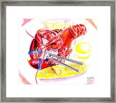 Lobster Platter Framed Print by John Keaton