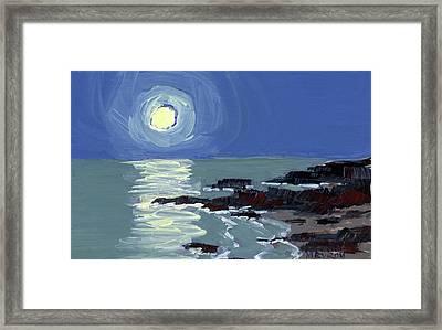 Lobster Point Moon Framed Print