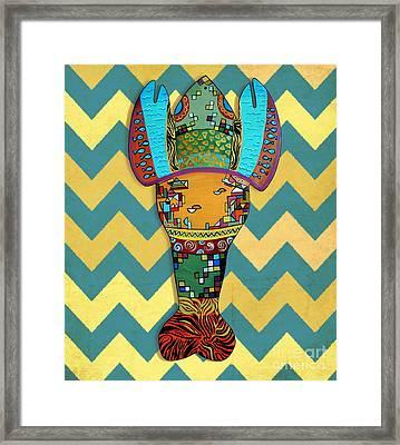 Lobster Vintaged Framed Print