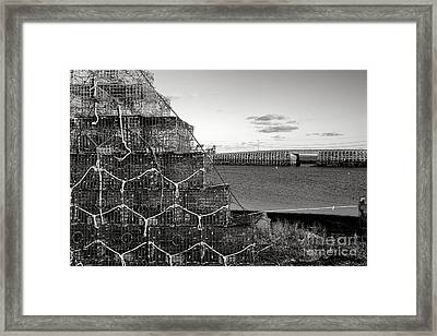 Lobster Traps And Cribstone Bridge Framed Print by Olivier Le Queinec