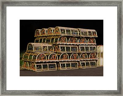 Framed Print featuring the photograph Lobster Traps At Night by Rob Huntley