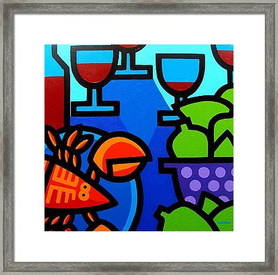 Lobster Wine And Limes Framed Print by John  Nolan