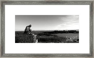 Lobsterman Statue On Bailey Island  Framed Print by Olivier Le Queinec