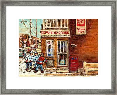 Local Corner Depanneur Regine Street Hockey Winter Scenes Canadian Art For Sale Carole Spandau       Framed Print by Carole Spandau