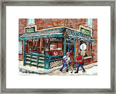 Local Grocery Store Fruits Soleil Verdun Store Painting Street Hockey Canadian Art Carole Spandau Framed Print by Carole Spandau