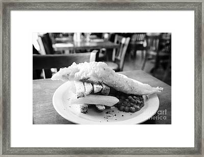 local produce fish and chips in restaurant in Cushendall County Antrim Northern Ireland UK Framed Print by Joe Fox