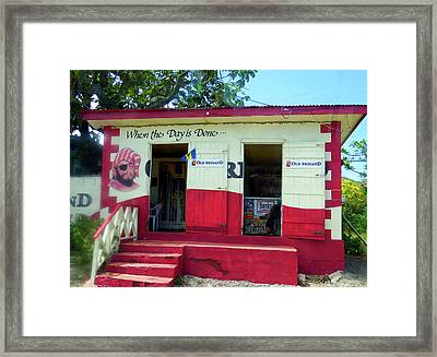 Framed Print featuring the photograph Local Rum Shop, Barbados by Kurt Van Wagner