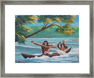 Locals Rowing In The Amazon River Framed Print