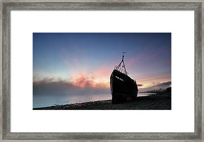 Framed Print featuring the photograph Loch Linnhe Misty Shipwreck by Grant Glendinning