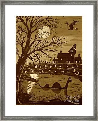 Loch Ness Monster On Halloween Framed Print by Jeffrey Koss