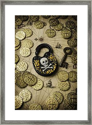 Lock And Gold Coins Framed Print by Garry Gay