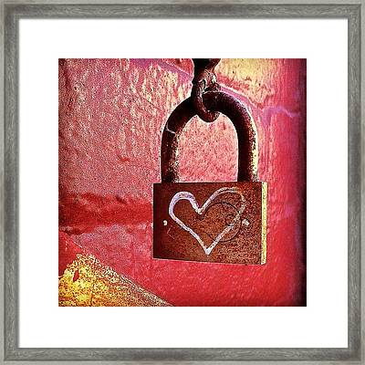 Lock/heart Framed Print by Julie Gebhardt