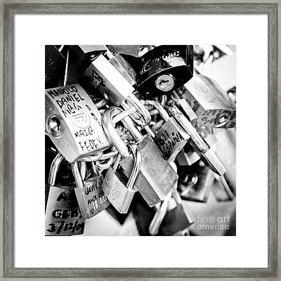Lock Wishes Padlocks On The Saint Angelo Bridge Ponte Sant Angelo Rome Italy Framed Print by Andy Smy