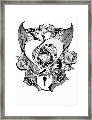 Locked Heart Surrounded By Roses Drawing Framed Print by Kenal Louis
