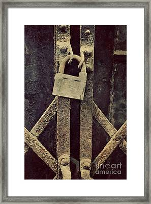 Locked Rusty Door Framed Print by Mythja Photography