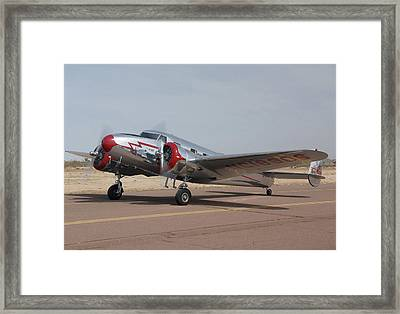 Lockheed 12a Electra Junior Nc18906casa Grande Airport Arizona March 5 2011 Framed Print by Brian Lockett