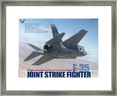 Lockheed Martin F 35 Lightening II Joint Strike Fighter Framed Print by L Brown