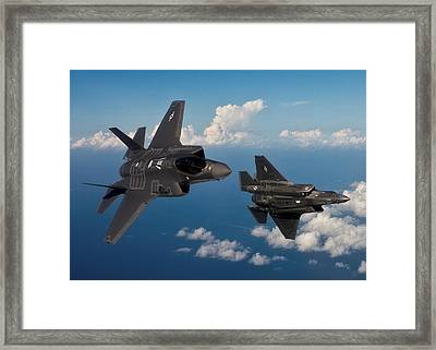 Lockheed Martin F-35 Lightening II Joint Strike Fighters During Military Exercises In A Forward Area Framed Print