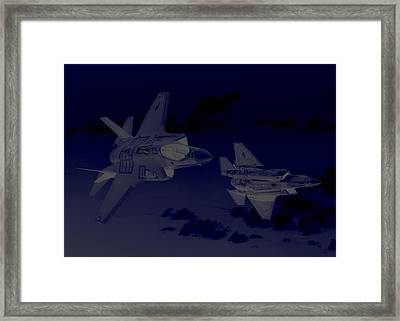 Lockheed Martin F 35 Lightening II Joint Strike Fighters During Night Military Exercises Framed Print by L Brown