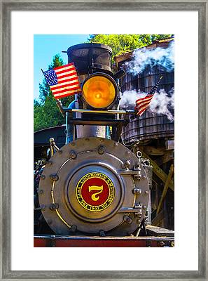 Locomotive And American Flag Framed Print