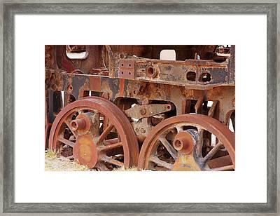 Locomotive In The Desert Framed Print by Aidan Moran