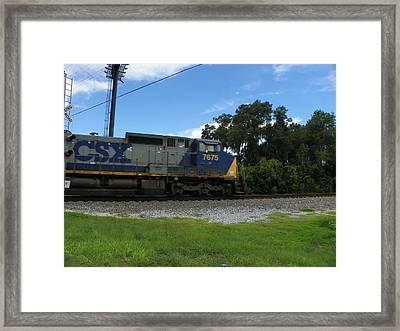 Locomotive On The Move Framed Print by Sheri McLeroy