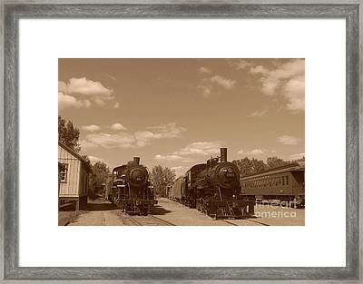 Locomotives In Sepia Framed Print by Charles Robinson