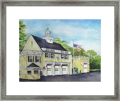Framed Print featuring the painting Locust Valley Firehouse by Susan Herbst