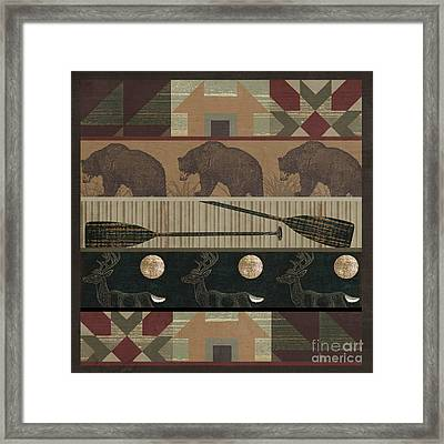 Lodge Cabin Quilt Framed Print by Mindy Sommers
