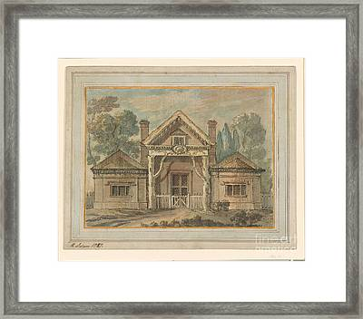 Lodge With A Rustic Portico Framed Print by MotionAge Designs