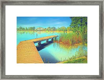 Lodi Lake Dock Watercolor Framed Print