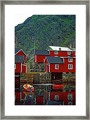 Lofoten Fishing Huts Oil Framed Print by Steve Harrington