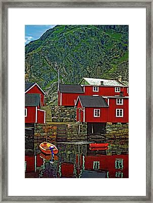 Lofoten Fishing Huts Framed Print by Steve Harrington