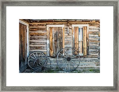 Log Cabin And Wagon Wheels Framed Print