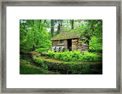 Log Cabin At Morris Arboretum Framed Print