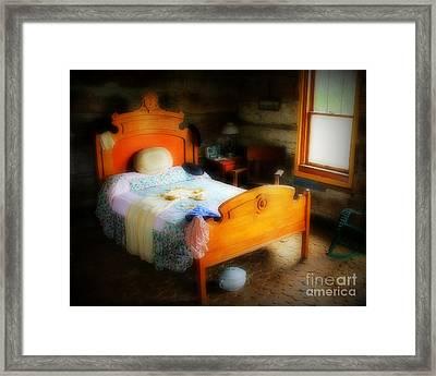 Log Cabin Bedroom Framed Print