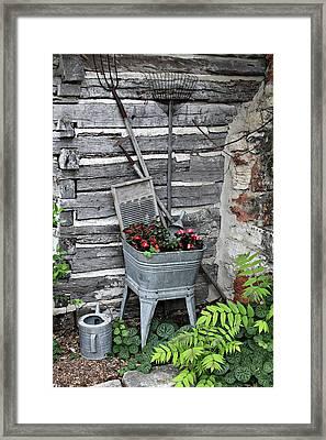 Log Cabin Garden Scene Framed Print by Linda Phelps